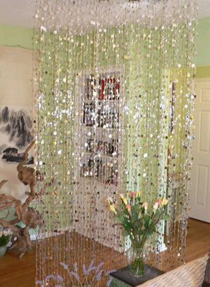 Bubbles Beaded Curtains   Silver   3 Ft X 6 Ft