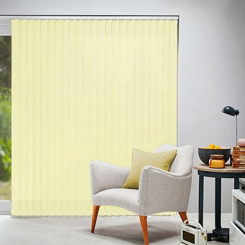 A Plain Vertical Blind Fabric In A Shade Of Pale Yellow. Available In An  89mm