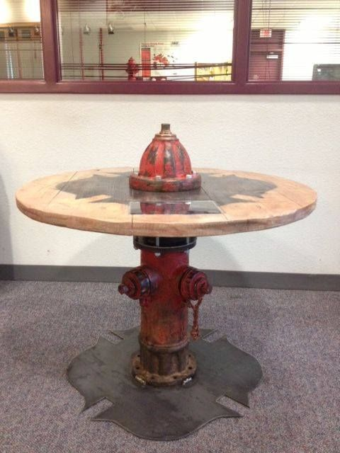 Firefighter fire hydrant rustic wood metal table Maltese cross