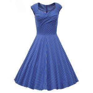 Modré dámské šaty bez rukávů ve stylu Audrey Hepburn–s jemnými puntíky