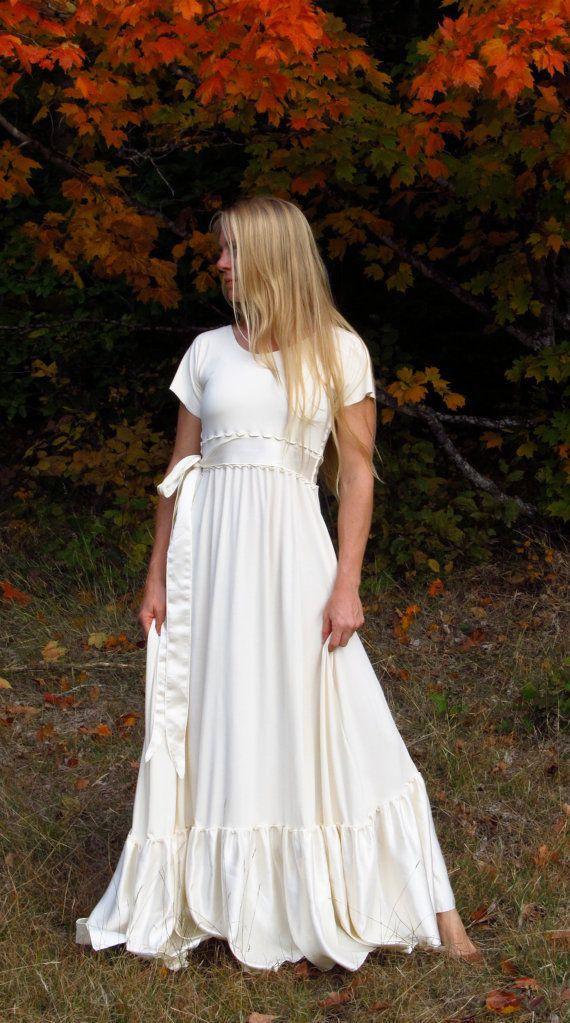 Ruffled Wedding Dress Bamboo and Organic Cotton Made to by yanadee, $220.00