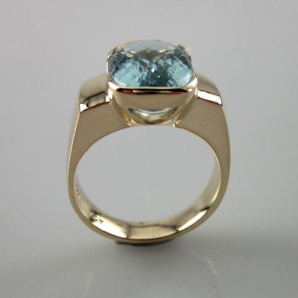 9ct Yellow Gold and Aquamarine Ring | Geoff Taylor Goldsmith