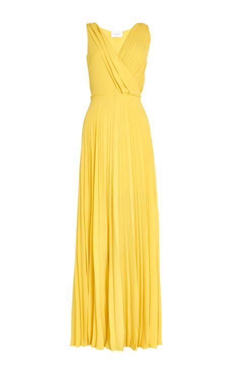 Yellow Crepe Dress by Cédric Charlier - Moda Operandi