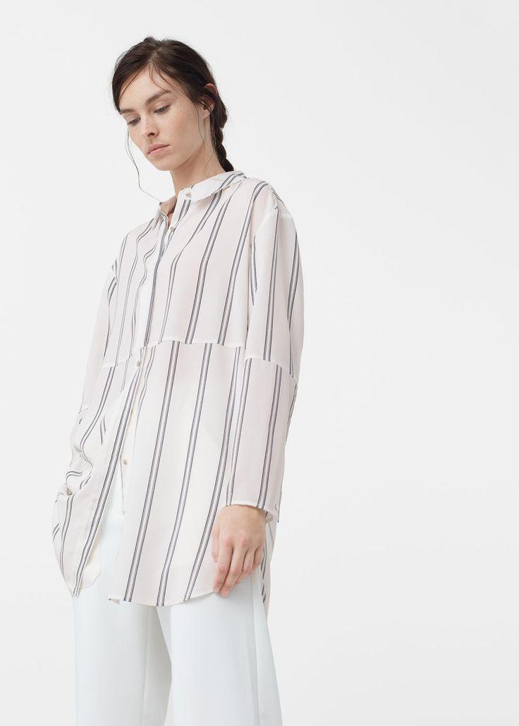 Струящаяся блузка в полоску - Рубашки - Женская | MANGO МАНГО Россия (Российская Федерация)