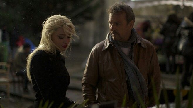 """Amber Heard and Kevin Costner in """"3 Days to Kill"""""""