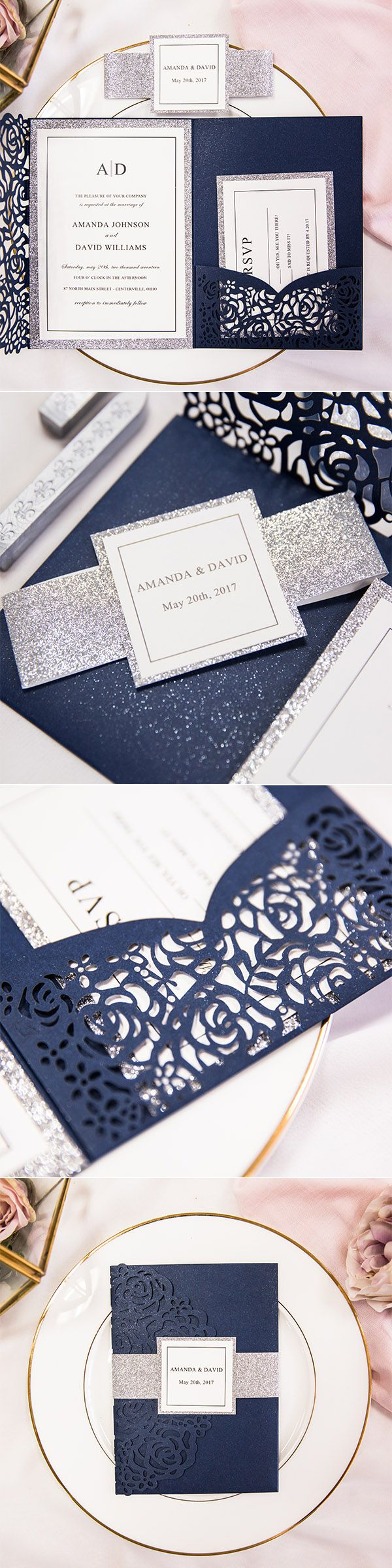 sparkly silver and navy elegant laser cut wedding invitations