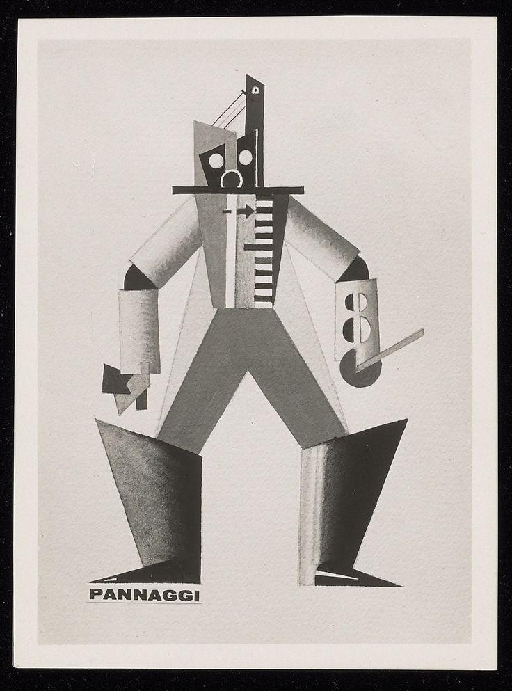 ¤ Futuristic costume design for L'Angoisse des Machines, (by Ruggero Vasari) designed by Ivo Pannaggi, 1926. / Yale University Library