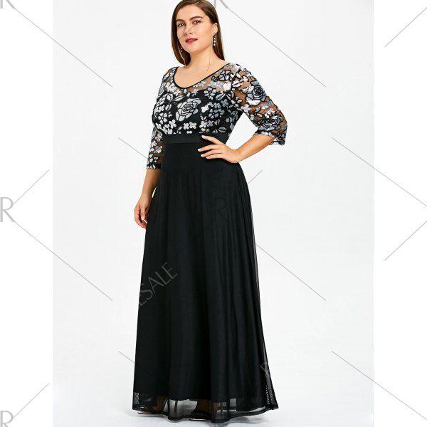 c65709600c2 Plus Size Sequined Floral Maxi Prom Dress - Black 5xl Mobile
