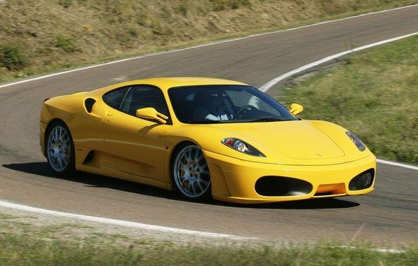 Обои дорога, F430, суперкар, Ferrari, передок, желтый, Феррари ...