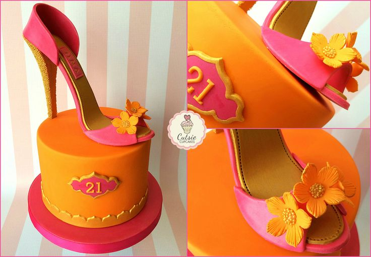 A pretty 21st Birthday Shoe Cake in Pink and Orange with Indian influence #cutsiecupcakes #indiancake #shoecake