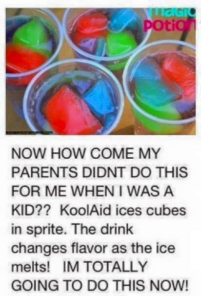 Colorful ice cubes in sprite...what a delight,,