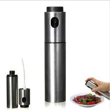 Silver Stainless Steel Olive Pump Spraying Oil Bottle Sprayer Can Oil Jar Pot Tool Can Pot Cookware Kitchen Tools
