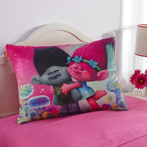 "The adventure continues with this Trolls ""Love A Troll"" bed pillow featuring…"