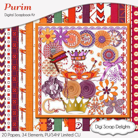 Purim  Digital Scrapbook Kit: Radiant Orchid, Orange, Purple, Red, Groger, Mask, Flowers, Clip Art  Instant Download   #purim #purple #hebrewroots #digitalscrapbooking