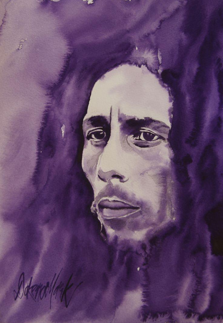 Bob Marley, watercolour by Dakeno Mark #bobmarley www.dakenomark.com