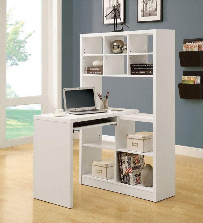 Homcom Rotating Home Office Corner Desk And Shelf Combo Guest Desk Decorating Ideas White Corner Desk Small Corner Desk Furniture