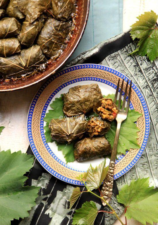 Resep Dolmeh - Daun Anggur Gulung Isi Daging & Nasi JTT