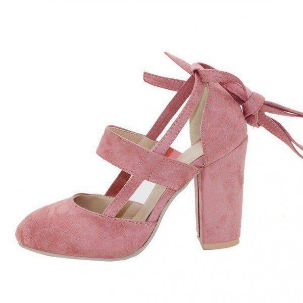 Pink Block Heel Sandals Suede Closed