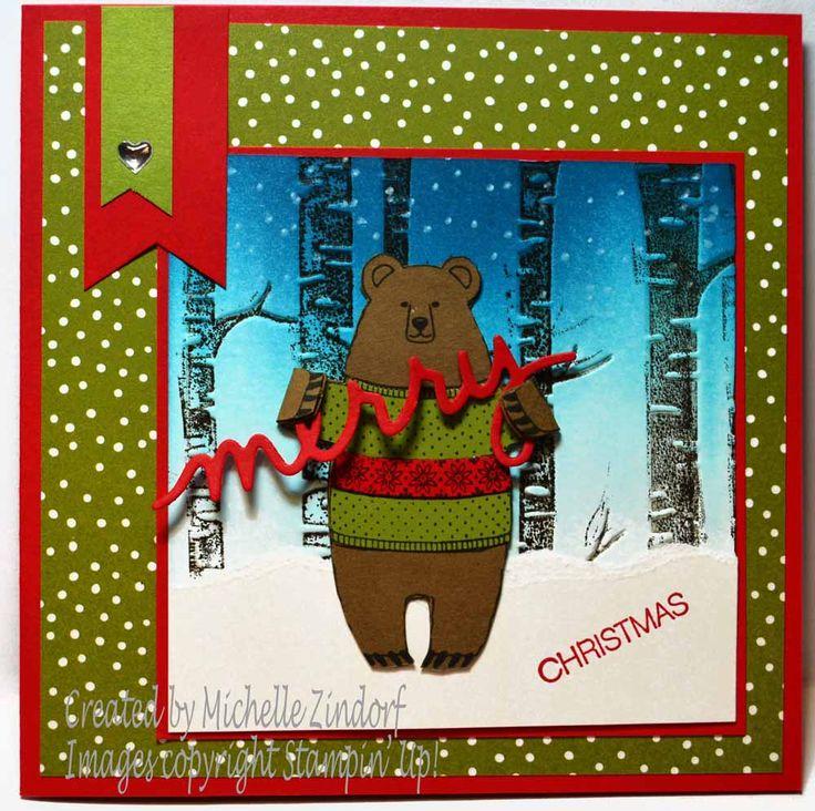 Merry Brown Bear – Stampin' Up! Card created by Michelle Zindorf - Fa-la-la-la Friends