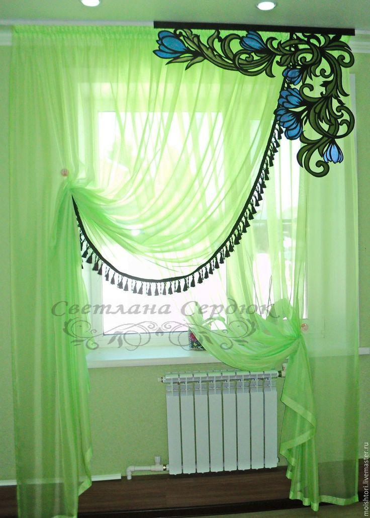 Купить Комплект штор - ярко-зелёный, шторы, шторы на заказ, шторы на кухню, шторы в детскую
