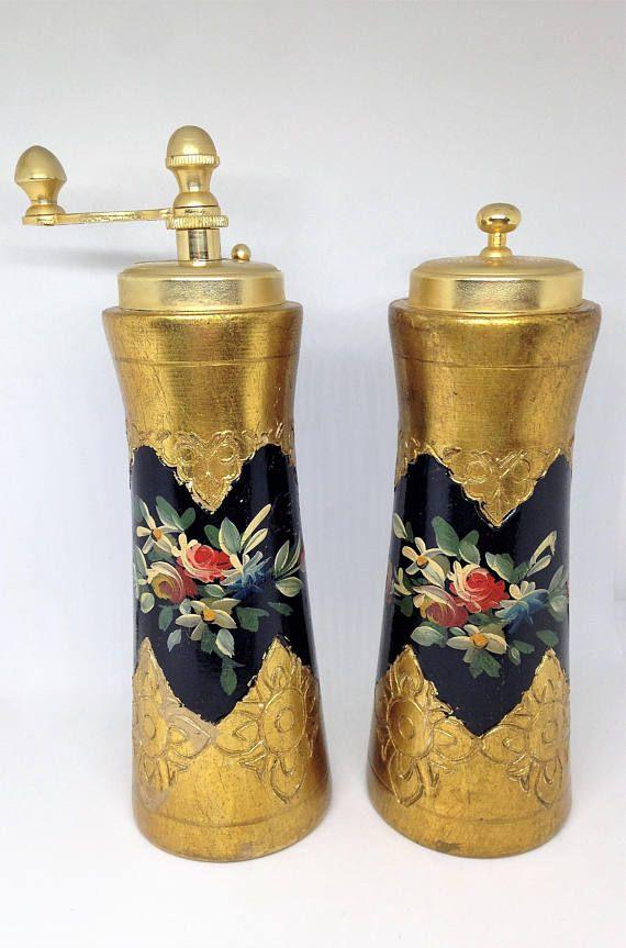 Gold Florentine Salt Pepper Shakers Hand Painted Florentine