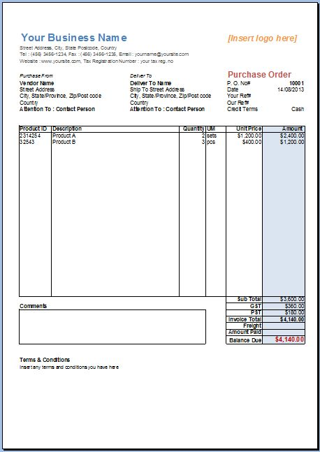 Basic Purchase Order Template, 2 Taxes