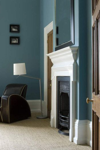 Wall in Farrow & Ball's Stone Blue Estate Emulsion. Woodwork in All White Estate Eggshell