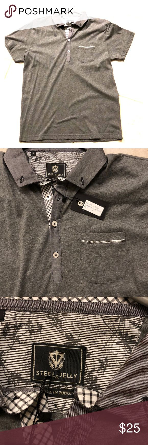 Mens Polo Shirt by Steel & Jelly NWT Polo Shirt by Steel & Jelly NWT with a Pocket in Charcoal Gray Size M Made in Turkey 60% Cotton/ 40% Polyester Steel & Jelly Shirts Polos