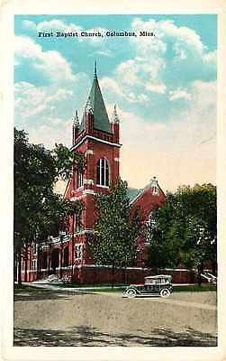 Columbus Mississippi MS 1920s First Baptist Church Antique Vintage Postcard