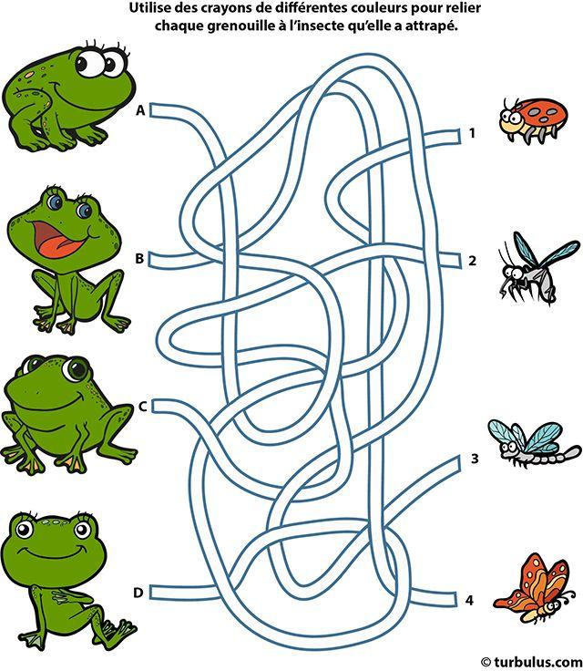 Jeu de labyrinthe gratuit, les grenouilles et les insectes