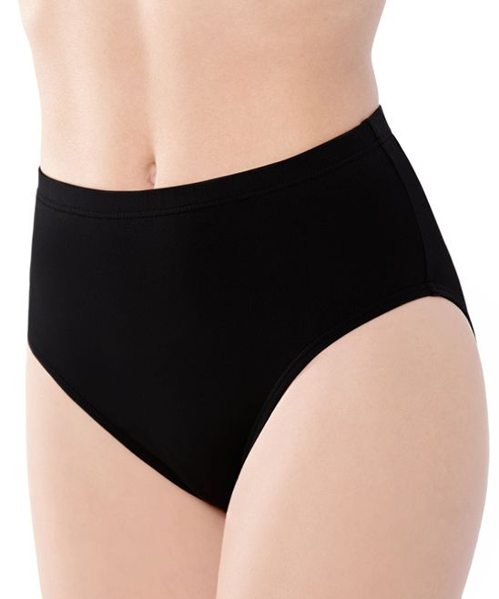 Captiva Black High-Waist Bikini Bottoms   zulily  . $19.99 $54.00  size: size chart S M L XL  Product Description:  These sassy bottoms inspire versatile styling with their neutral shade and modest-yet-flirty cut.      85% nylon / 15% spandex     Hand wash     Imported