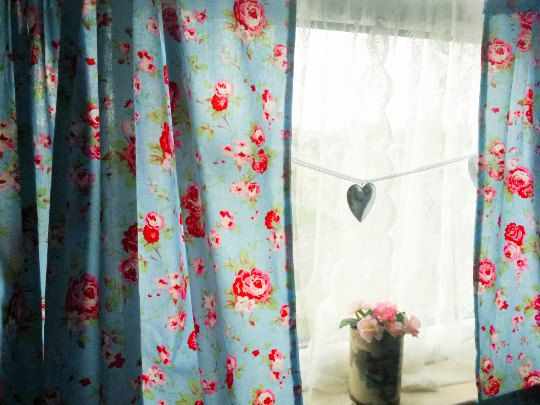 Shabby chic curtains blue rosali curtains window by ClarasHandMade