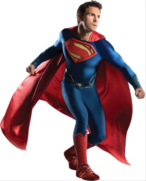 Superman Man of Steel Deluxe Men's Costume - You can be Cal El himself with this amazing deluxe Superman Costume. This is the updated look from the DC Comics Man of Steel movie. This deluxe four-piece costume includes a jumpsuit with detachable, belt, boot tops and wrist gauntlets. The lightweight red cape is ankle length, and attaches to the shoulders of the jumpsuit with metal snaps on either side. #superman #yyc #calgary #costume #superhero #mens