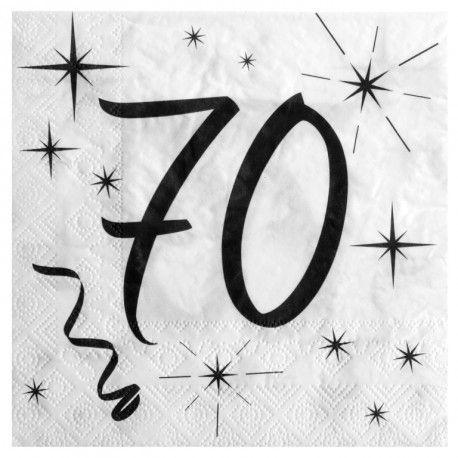 Serviette en papier anniversaire 70 ans les 20