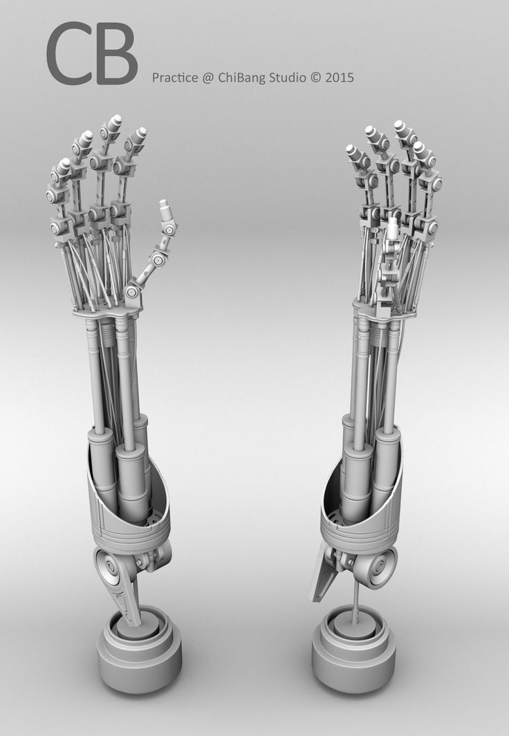 Robotic Terminator Arm T-800 Maya 3D model - Ambient Occlusion 2 arms perspective view. As of 79 days of learning Maya.