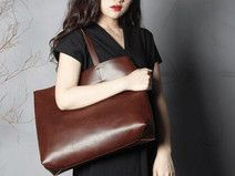 Handgefertigte Leder FRAUEN Tasche, Einkaufstasche