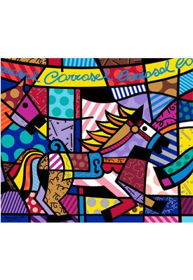 CARROUSEL serigraph on gesso by Romero Britto (unframed) $3250