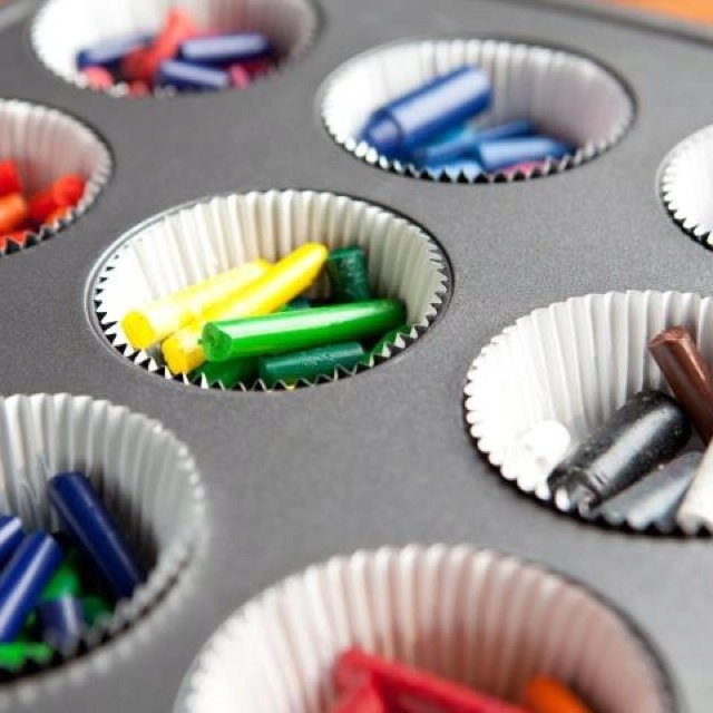 Reuse broken crayons by blending and melting them down