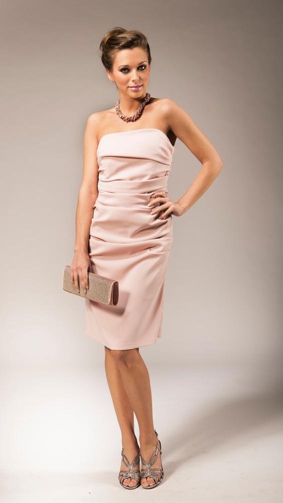 Short pale pink bustier dress | Robe bustier courte en crêpe rose pâle | Kort licht roze bustier avondkleedje | Anne-Sophie SMARTSHOPPING