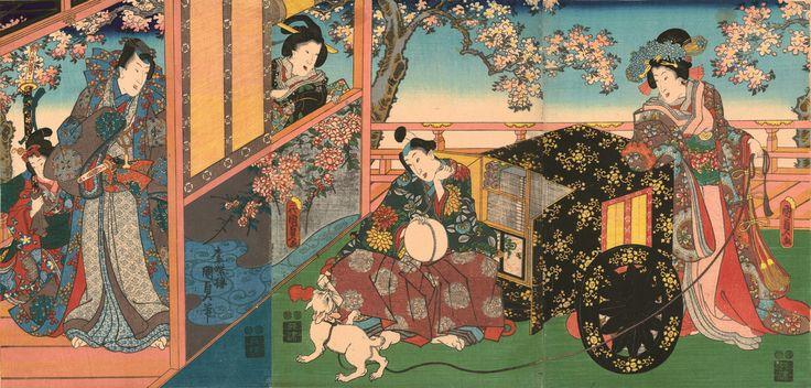 Centuries Before Memes, There Were The LOLCats Of Japanese Woodprints. Utagawa Kunisada II (1823–1880), Kashiwagi from the series The False Murasaki's Rustic Genji, 1848–54. Color woodblock print; 22 3/8 x 36 7/8 inches. Courtesy Hiraki Ukiyo-e Foundation.