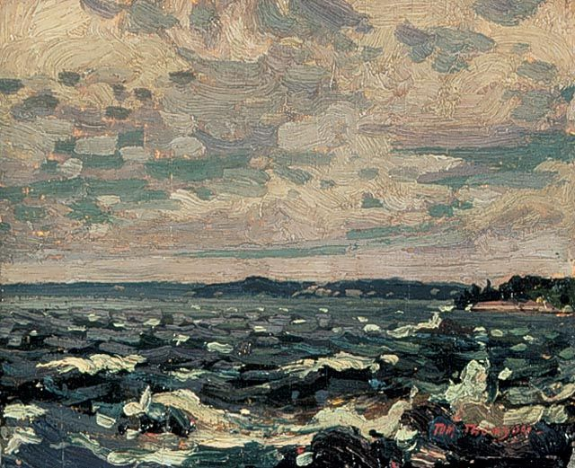 """Parry Sound Harbour,"" Tom Thomson, 1914, oil on wood, 8.5 x 10.5"", National Gallery of Canada."