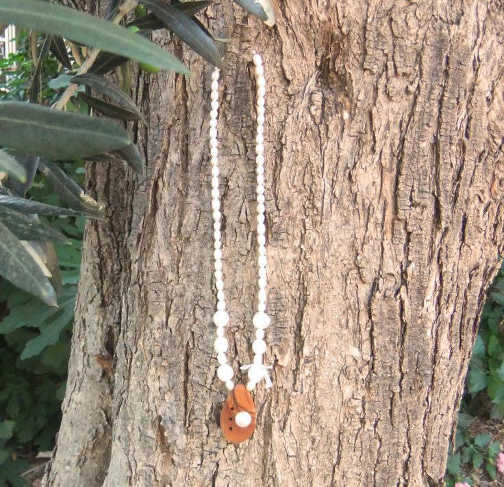 Stunning Freshwater Pearl necklace with olive wood pendant, inlaid with pearl nugget by ellenisworkshop on Etsy