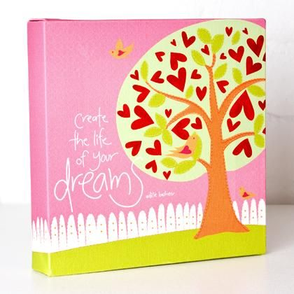 'Create the life of your dreams' canvas by Adele Basheer. Available at www.threemadfish.com