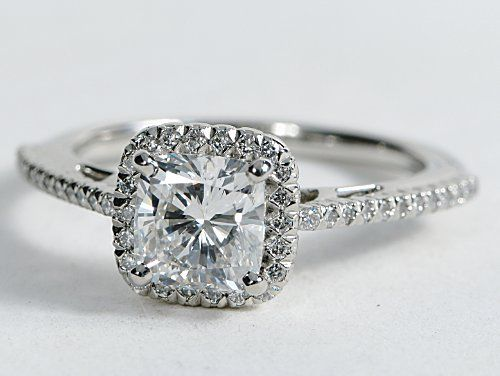 Cushion Cut Halo Diamond Engagement Ring in Platinum #BlueNile: Diamond Engagement Rings, Wedding Ring, Dream Ring 3, Ring Dream Ring, Wedding Ideas, Cushion Cut Halo, Dream Wedding, Ring Engagement, Halo Diamond Rings
