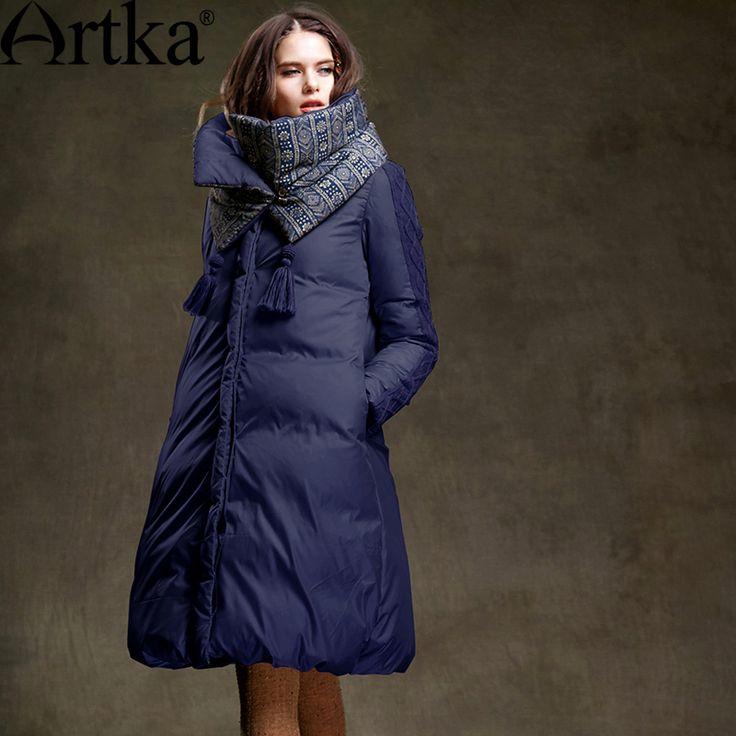 Artka Women's 2016 Winter Long Outerwear 90% White Duck Down Coat Long Sleeved…