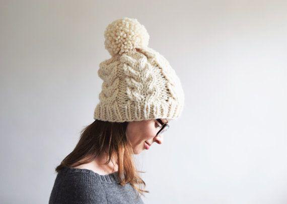 Cable Knit Hat Pattern // Cabled Hat Pattern // Cable Hat Pattern // Cable Pom Pom Hat Pattern // Hat Knitting Pattern