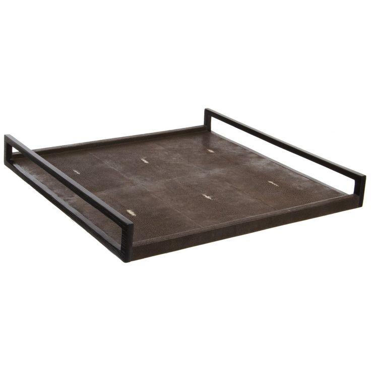 R U0026 Y Augousti Paris: Luxury Chocolate Shagreen Leather Tray * 18 X 18  Inches
