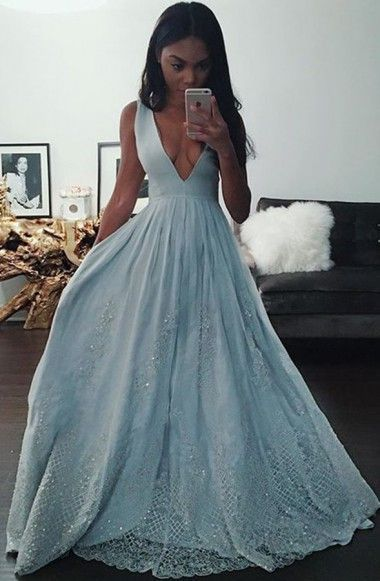 2016 prom dress,floor length prom dress,baby blue prom dress,deep v neck evening…