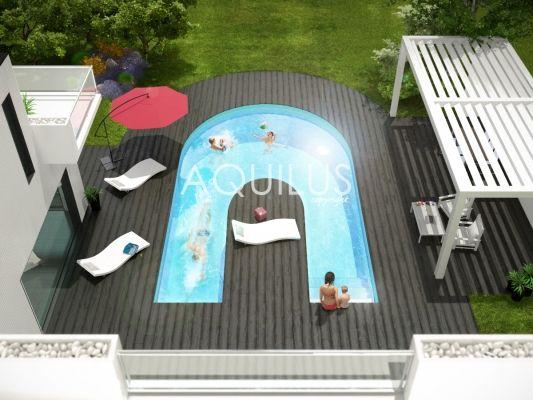 Aquilus crée le concept ALPHA-B. Une forme atypique et esthétique, une piscine, trois ambiances : détente, jeux et natation. Plus d'infos sur : http://www.aquilus-piscines.com/concept-alpha-b.html