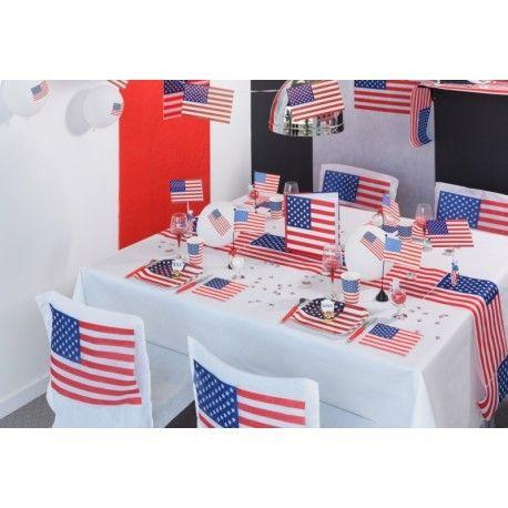 Assiette Amérique drapeau américain carton 23 cm les 10